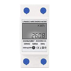 Medidor de energía eléctrica digital KKmoon Medidor de electricidad de carril DIN monofásico Medidor De Consumo Electrico Medidor eléctrico multifunción monofásico de dos cables 220VAC / 50Hz
