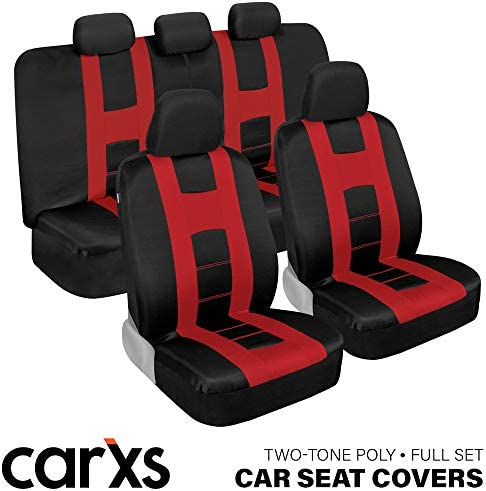 carXS Forza Series Red Black Car Seat Covers Full Set Front and Rear Bench Back Seat Cover Set product image