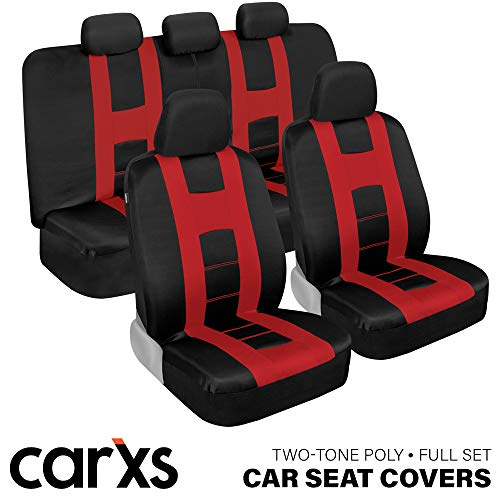 BDK carXS Forza Series Red & Black Car Seat Covers, Full Set – Front and Rear Bench Back Seat Cover Set, Easy to Install with Two-Tone Accent, Universal Fit for Cars Trucks Vans and SUVs (OS319)