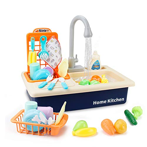 BOBXIN Play Kitchen Toy Sink, Electronic Dishwasher Kids Play Sink with Running Water, Pretend Play Kitchen Toys Set with Working Faucet and Play Dishes for Girls, Toddler and Boys