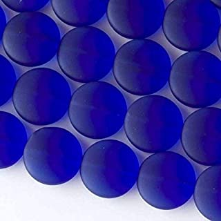 Cherry Blossom Beads Royal Blue Cultured Sea Glass Beads 15mm Coin - 7.5 Inch Strand