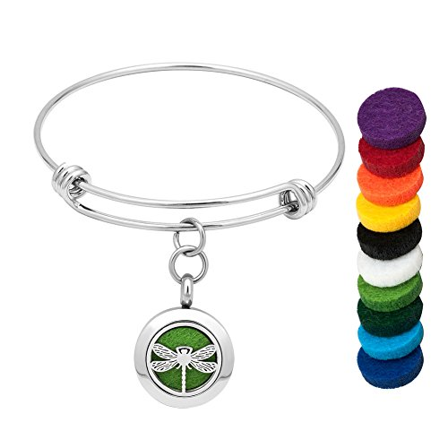 Cool Jewelry Essential Oil Diffuser Bracelet Staniless Steel Aromatherapy Dragonfly Bracelet Magnetic Locket Bangle with 10 Color Washable Refill Pads
