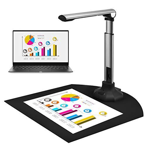 InLoveArts Dokumentenkamera für Lehrer, Dokumenten-und Buchscanner Für Lehrer, Tragbarer High-Definition-Scanner Größe A4 Für Dateierkennung, Beziehungen, Online-Unterricht Und Büro