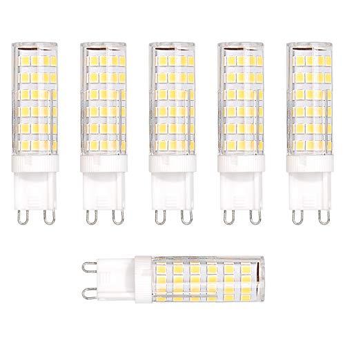 OeyeO Bombilla LED G9, 6 unidades, 7 W, G9, luz blanca cálida, G9, bombilla de bajo consumo con ángulo de visión de 360°