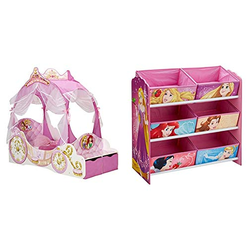 Kleinkinderbett für Mädchen im Kutschendesign von Disney Prinzessin, mit Baldachin & Disney Prinzessin - Regal zur Spielzeugaufbewahrung mit sechs Kisten für Kinder, Holz, pink, 30 x 64 x 60 cm