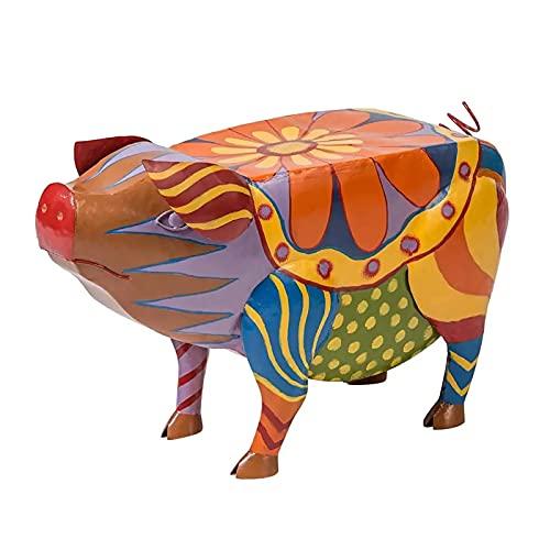 Colori astratti Design Animali Bovini/maiali/cani Statue Ornamenti, Arte popolare colorata Animali Sculture in resina Tavolino, Artigianato per la casa Giardino Cortile Paesaggio