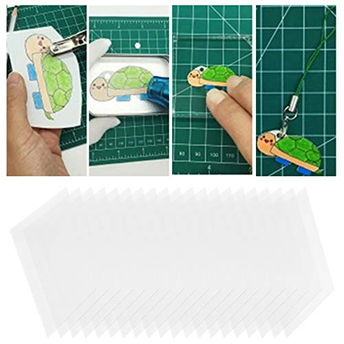 20Pcs 0.2mm Semitransparent Shrink Film,Heat Shrinkable Hand‑Painted DIY Sheet 20145#for Kids Activities for All Ages,Bonus Traceable Pictures