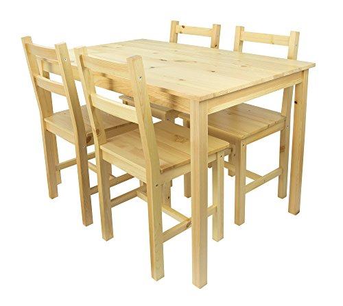 Merkell Tavolo da Pranzo Set: Tavolo di Pino e 4 sedie...