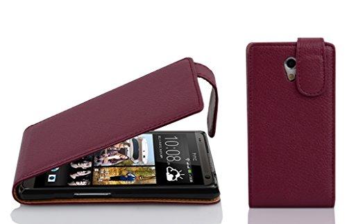 Preisvergleich Produktbild Cadorabo Hülle für HTC Desire 700 - Hülle in Bordeaux LILA Handyhülle aus Strukturiertem Kunstleder im Flip Design - Case Cover Schutzhülle Etui Tasche