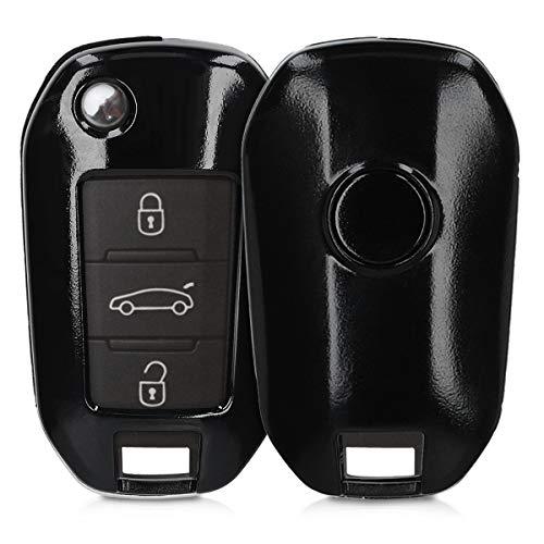 kwmobile Funda Compatible con Peugeot Citroen Llave de Coche Plegable de 3 Botones - Carcasa Dura para Llave de Coche Mando de Auto - en Negro Mate