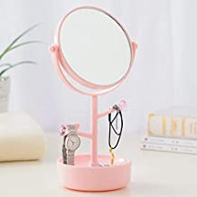 Lukzer Chrome 5X Magnification Cosmetic Tabletop Shaving & Makeup Vanity Mirror with Accessories Holder, Random Color