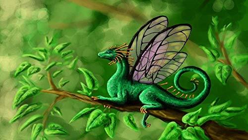 N\A Lienzo DIY Pintura Al Óleo Manualidades para Pintar Pintura por Numeros Adultos Niños - Dragones Fantasía Alas De Mariposa 40X50Cm