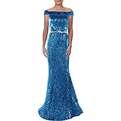 Turquoise Sequined Off The Shoulder Mermaid Sweep Train Dress