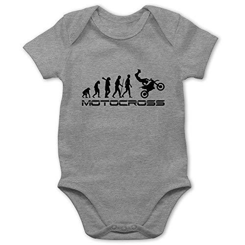 Shirtracer Evolution Baby - Motocross Evolution - 1/3 Monate - Grau meliert - Baby Strampler Motocross - BZ10 - Baby Body Kurzarm für Jungen und Mädchen