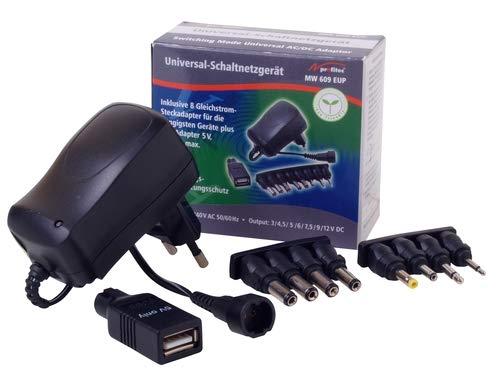 profitec MW 609 EUP Universal Steckernetzteil DC 3V 4,5V 6V 7,5V 9V 12V / 600mA stabilisiert Plus USB
