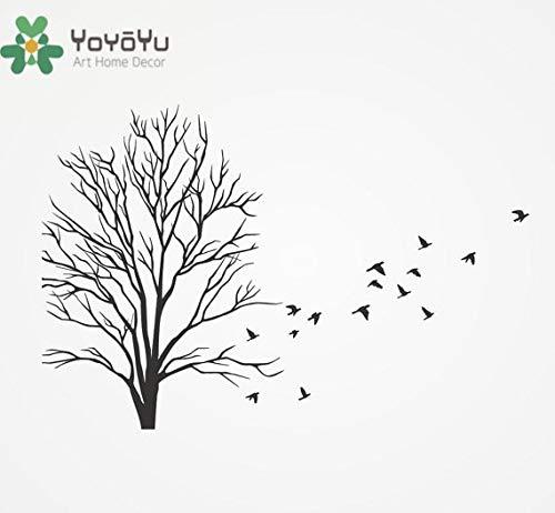 YIYEBAOFU Gamer muursticker hond, vinyl muurtattoos met vogels vliegen voor winter takken planten decoratie sticker