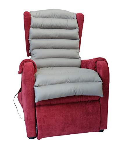 TAKIMED - Funda larga de fibra hueca siliconada, alfombrilla antidecúbito, revestimiento de sillón de masaje, funda para sillón universal, sillón eléctrico, producto italiano.