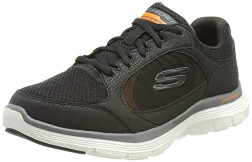 Skechers Flex Advantage 4.0-True Cla, Zapatillas Hombre, Negro (BLK Black Leather/PU/Mesh/Trim), 41 EU