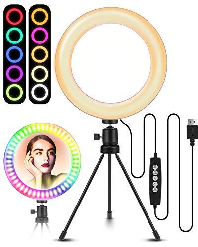 ELEGIANT LED Ringlicht Stativ, 8' Selfie Ringleuchte mit 10 RGB Farbwechsel+10 Helligkeitsstufen,Tischringlicht dimmbar für Fotografie Videoaufnehmen...