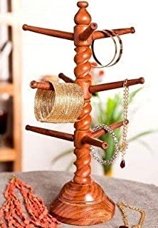 Indian Crafts Idea Decor Sheesham Wood Bangles Stand, Bangle Hanger, wood handers, 9 Rod Bracelet Stand, Wooden bangle holder stand, Jewelry Display Stand Tower for Necklace, Bangle Storage Organizer, Wooden Foldable Bangles Stand Curl Design,Bangles Wooden Stand Curl Design, Bracelet Hanger, Wooden Handcrafted stand, Bangle bracelet display stand.