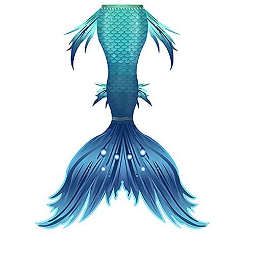 RTYU Niños Colas de Sirena para Nadar Sirenita niñas Traje de baño Bikini Conjunto Traje de baño Fiesta Cosplay Disfraces(Color:A)