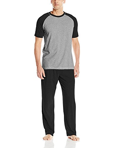 Hanes Men#039s Adult XTemp Short Sleeve Cotton Raglan Shirt and Pants Pajamas Pjs Sleepwear Lounge Set  Black XLarge