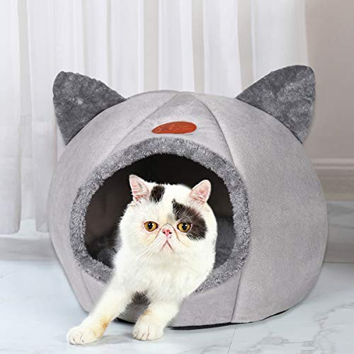 QIFU Grey Cat Bed Cave House - 2-in-1 Foldable Cat Tent Bed House with Non-Slip Bottom Warm Soft Comfortable Indoor Semi-Enclosed Pet Bed Sleeping House