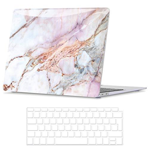 Belk Hulle Kompatibel mit MacBook Air 13 Zoll 2020 2019 2018 mit Retina Display Touch ID A2337 M1 A2179 A1932 Glattes Muster Plastik Hartschale Schutzhulle Case und Tastaturschutz Marmor
