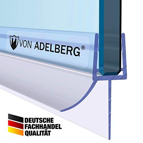 VON ADELBERG Duschdichtung Wasserabweiser Gerade PVC Ersatzdichtung für Dusche Typ: VA006-15 - Länge: 40 bis 200 cm - Glasstärke: 4, 6, 8, 10 mm, Dichtung Länge:60 cm, Glasstärke:6 mm