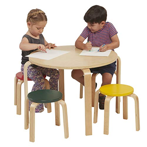 ECR4Kids Bentwood Table and Stool Set for Kids, covid 19 (Plywood Library Table coronavirus)