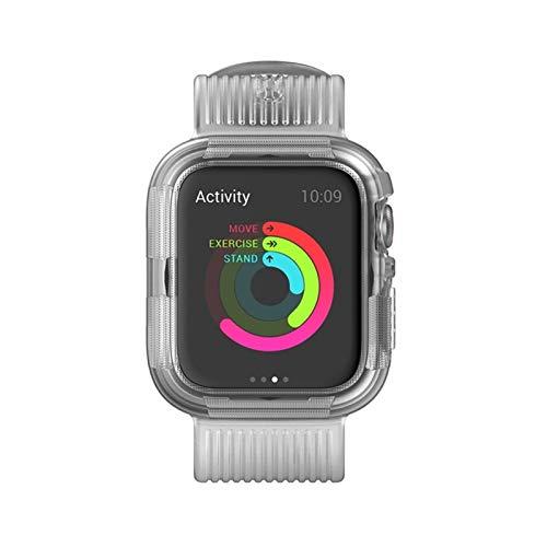 WSGGFA Correa de silicona para Apple Watch Band 44 mm, 40 mm, 42 mm, 38 mm, suave parachoques + pulsera para accesorios IWatch 5 4 3 2 1 (color de la correa: blanco, ancho de la correa: 38 mm)