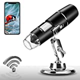 Wireless Digital Microscope 1X-1000X 1080P Handheld Portable Mini WiFi USB Microscope Camera with 8 LED Lights for iPhone/iPad/Smartphone/Tablet/PC