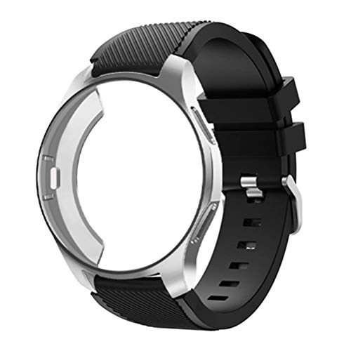 Watch Band with Case Compatible for Samsung Galaxy Watch 42mm/Gear Sport S2, Silicone Sport Strap 22mm Replacement Bands with Protective Case