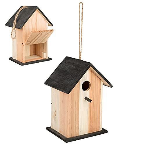 Smart Planet Pajarera de madera – Casa nido con tapa para rellenar, nido 22 x 15 x 13 cm – Casa de pájaros con cordón para colgar