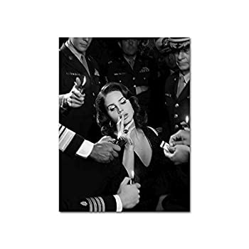 YGYT Singer Canvas Wall Art for Lana Del Rey Poster Black and White Painting Poster Printed on Canvas for Home Living Room l Unframed l 24x32 inches