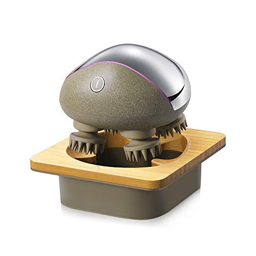 Breo Electric - Masajeador de cuero cabelludo portátil IPX7, resistente al agua, recargable, masajeador de cuello y cuerpo con base de carga de madera de bambú, nudos de masaje extraíbles