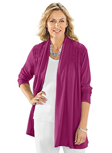 AmeriMark Women's Long Cardigan Sweater Open Flyaway Front and Shoulder Smocking Orchid SP