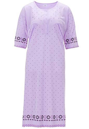 Lucky Camicia da Notte Donna Manica Corta a Fiori Taglia Forte, Farbe:Flieder, Größe-Damen:6XL