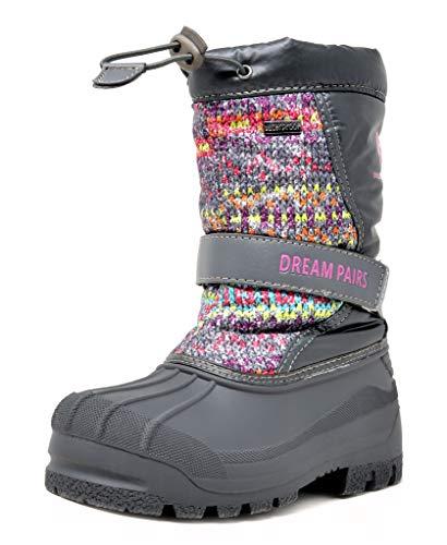 DREAM PAIRS Big Kid Kamick Grey Multi Mid Calf Waterproof Winter Snow Boots Size 4 M US Big Kid