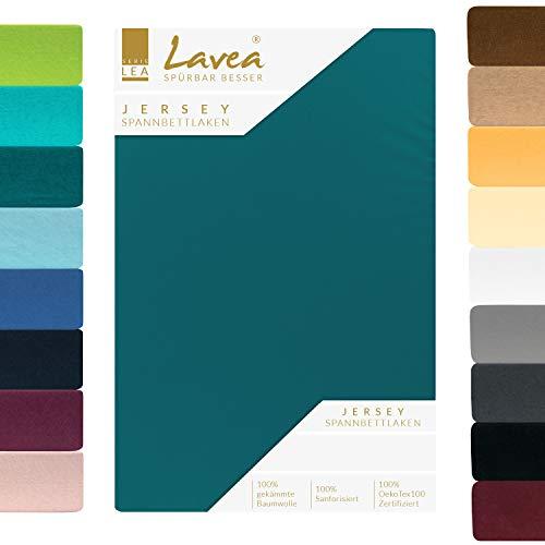 Lavea Jersey Spannbettlaken, Spannbetttuch, Premium Serie LEA, 140x200cm | 160x200cm, Petrol, 100{9684b67e8ef030f55d72545eed6fb7994d7b87eef2533bebecc8d06190d2ce4e} gekämmte Baumwolle, hochwertige Verarbeitung, mit Gummizug und OekoTex100