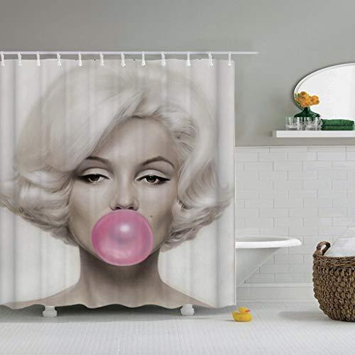 KJGTR DuschvorhangMarilyn Monroe Duschvorhang Sexy Marilyn Monroe Print Frau Badezimmer Bad Wasserdicht hoher Duschvorhang