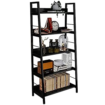 HIMIMI Black Ladder Bookshelf 5 Shelf Bookcase Industrial Bookshelf Wood and Metal Bookshelves Plant Flower Stand Rack Book Storage Shelves for Living Room Bedroom Home Office