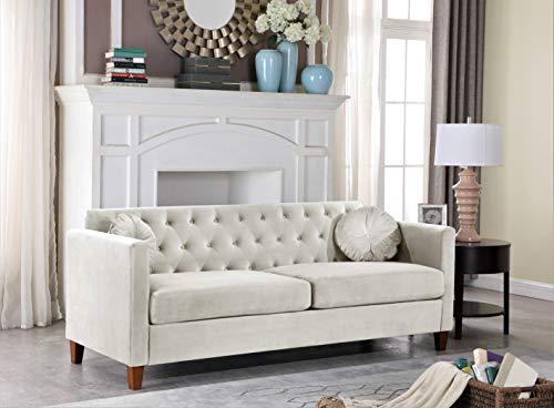 Container Furniture Direct Kitts Velvet Upholstered Sofa, Beige