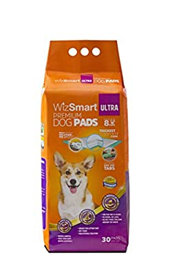 WizSmart All Day Dry Premium Dog and Puppy Training Pads, Made with Recycled Unused Baby Diapers and Eco Friendly Materials, 8 Cup Ultra 30 Count