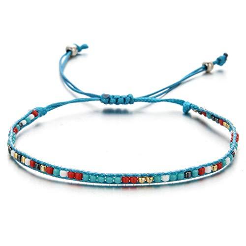 DMUEZW Handgemaakte Weave Touw Ketting Armbanden Voor Vrouw Mannen Kristal Zaad Kralen Bedels Polsband Mode Sieraden