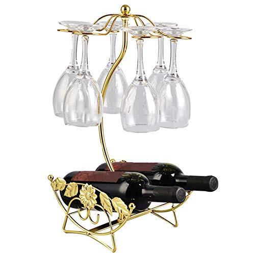 Soporte para vino, hoja de alambre de hierro, soporte hueco para colgar copas de vino, estante para botellas de vino y vasos, apto para bar, cocina, restaurante (color: dorado)