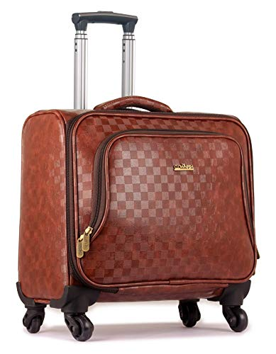 The Clownfish Checkers Unisex Faux Leather 44 LTR Laptop Roller Case (Maroon)