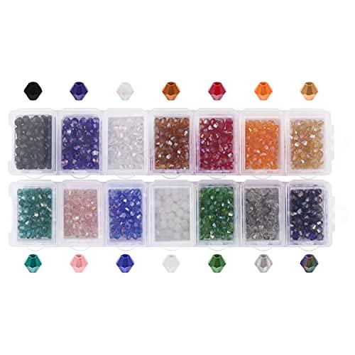 Handi Stitch Cuentas de Cristal Facetadas 4 mm Bicono con Caja de Almacenaje (Pack de 1400) 14 Colores Variados - Abalorios Cristal para Manualidades, Brazalete y Collares