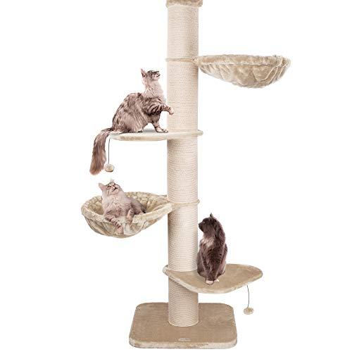 Happypet® Kratzbaum XXL deckenhoch | 250-275 cm | Premium Qualität für große Katzen | mit Deckenspanner | 17 cm Dicke Sisalstämme | 45 cm Liegemulde | geprüfte E1 Holzplatten | Main Coon | Creme