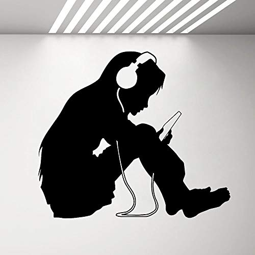 Auriculares de música pegatinas de pared para niña habitación de los niños dormitorio decoración del arte interior del hogar flores autoadhesivas de pared A7 48x42cm